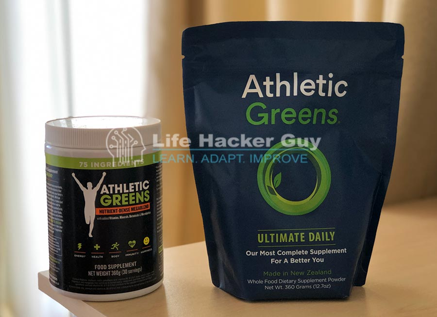 Athletic greens tub and pouch side by side