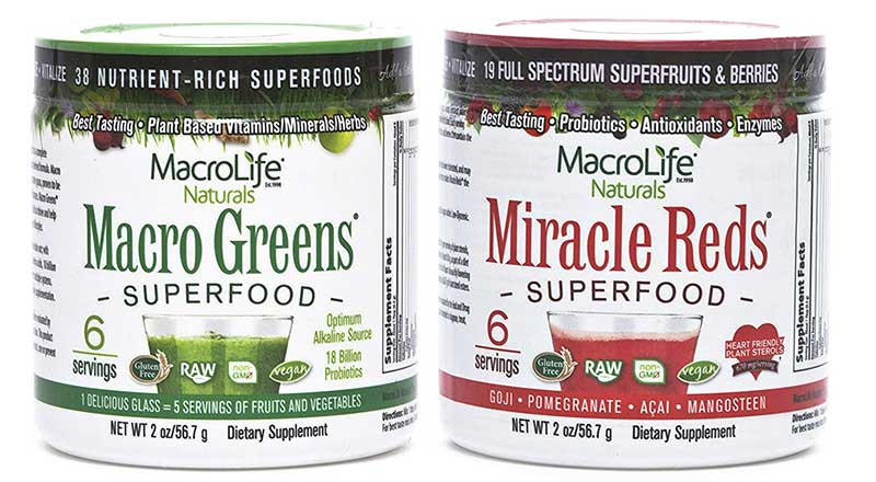 Macrolife Greens and Red supplements
