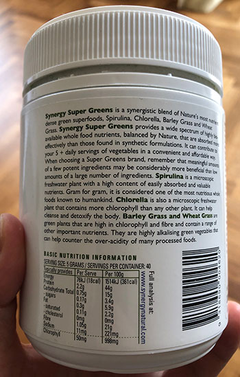 Synergy Super Greens label