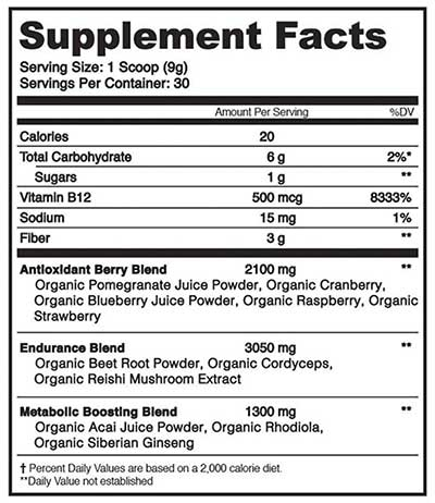Organifi red juice supplement label