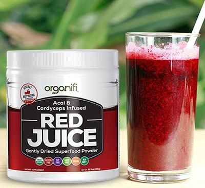 Organifi Red Juice with glass