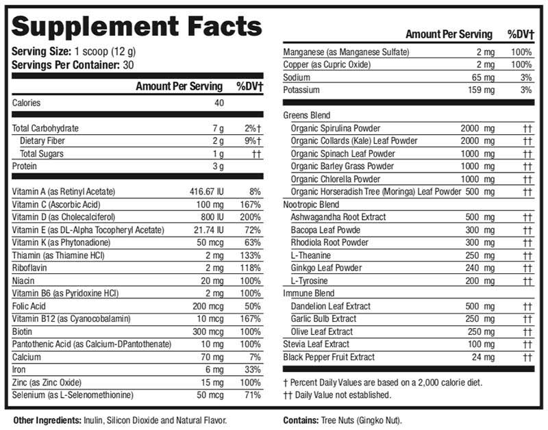Supergreen supplement label