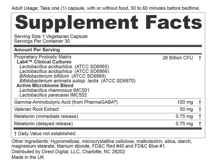 Peptiva supplement facts label