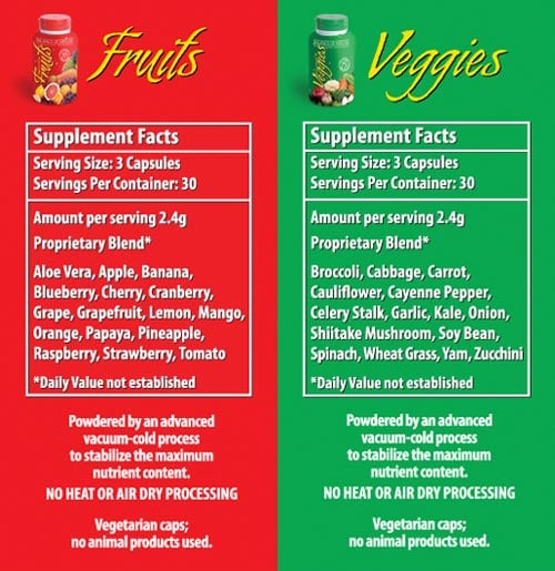 Balance of Nature Fruits and Veggies Supplement Facts