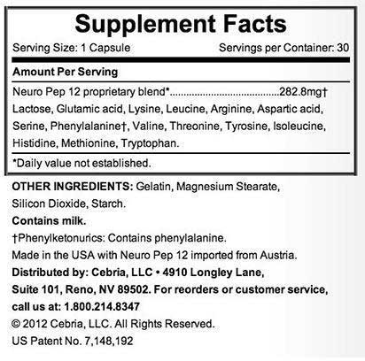 cebria supplement facts label