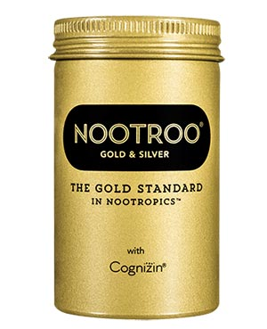 Nootroo gold and silver bottle