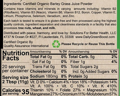 Daily Green Boost nutritional facts