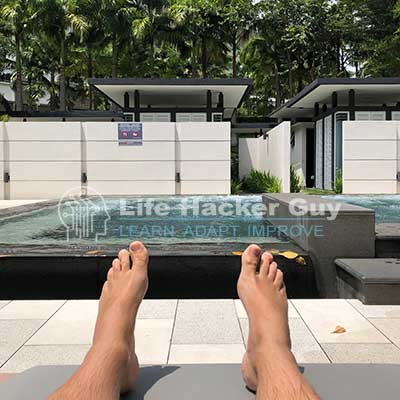 Adam relaxing by the jacuzzi
