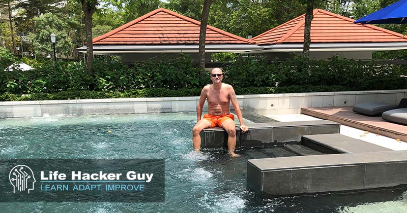 Adam relaxing in the Jacuzzi pool