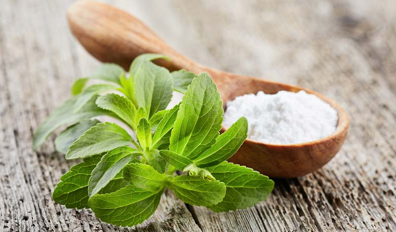 Stevia leaf extract sweetener in greens powder