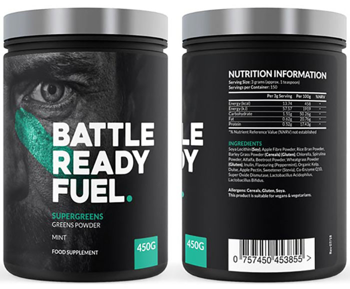 Battle Ready Fuel Super Greens tub front and back