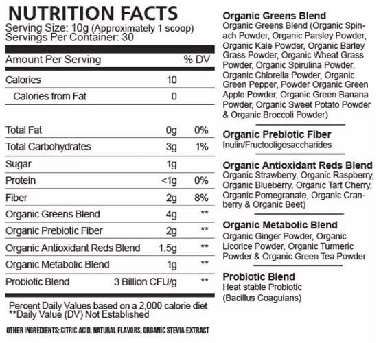 Field of Greens supplement label