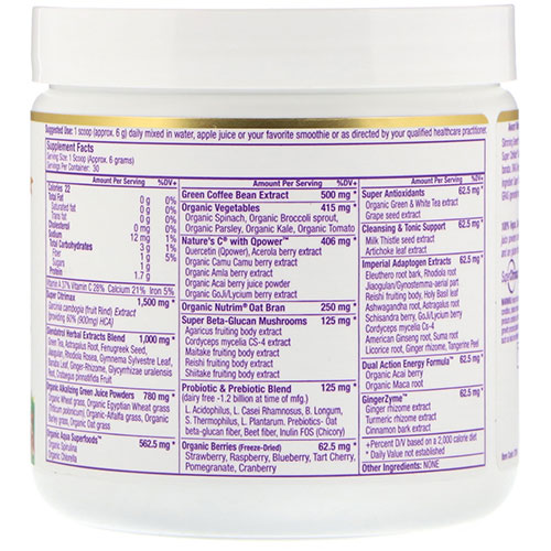 Paradise Slimming Greens ingredients label